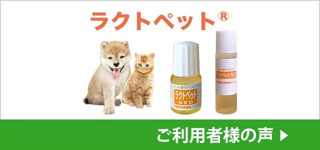 ご利用者様の声:ペット用サプリメント – 乳酸菌発酵濃縮エキス ラクトペットNEO